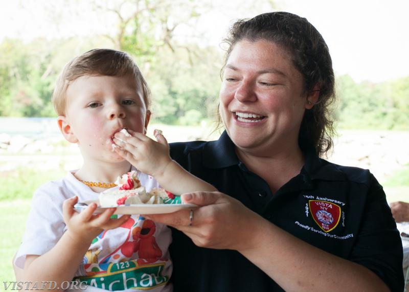 Junior Firefighter Michael Fisher & Lt. Allie Fisher celebrating his 2nd Birthday during the 2017 Fall Family Picnic (Photo Credit: Jamie Kaplan)