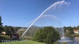 "Engine 141 flowing water during ""Firefighter Fundamentals Class"""