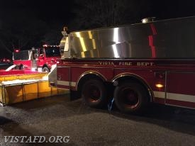 Vista Tanker 4 dumping water in the portable ponds during the Pound Ridge Water Supply Drill