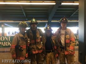 Foreman Adam Bartley, Probationary FF/EMT Candidate Olivia Buzzeo, FF Ryan Ruggiero & FF Patrick Healy at the National Stair Climb