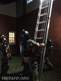 Vista Firefighters conducting ladder operations during V.E.I.S