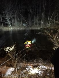 Vista Firefighters & EMTs performing an ice water rescue