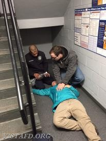 Lt. Cervantes & Lt. Porco participating in a cardiac arrest call scenario