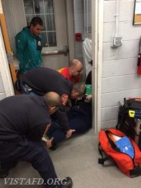 Vista Fire Department members participating in a cardiac arrest call scenario