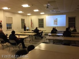 Lt. Phil Katz going over the Search & Rescue PowerPoint presentation