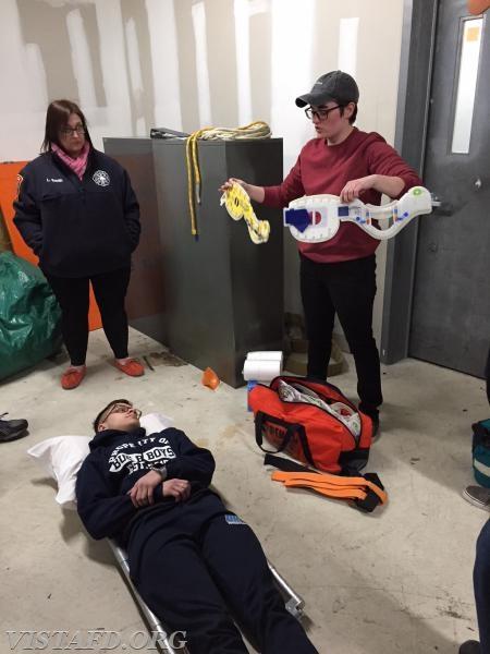 Vista Fire Department members going through EMS call scenario practicals