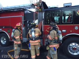 "Vista Firefighters practice stretching an 1-3/4"" hose line off of Engine 141"