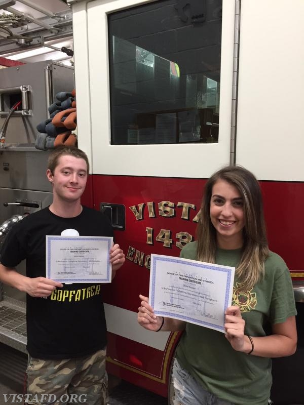 Firefighter/EMT Sean Kaplan and Probationary Firefighter Olivia Buzzeo