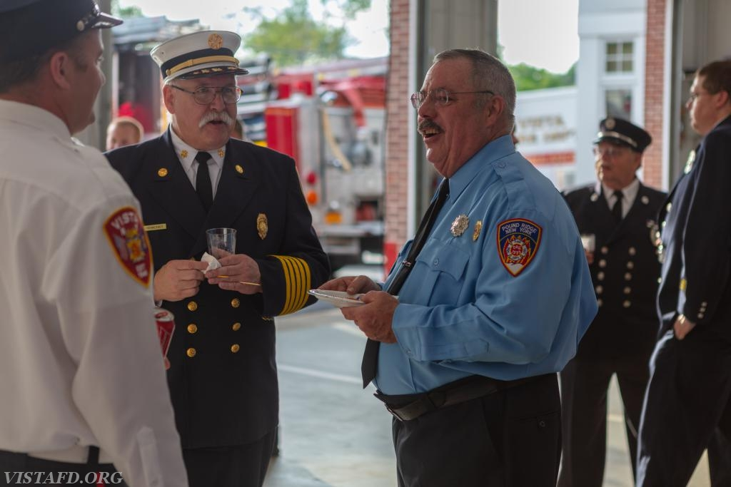 Firefighter Sean Kelly, New Canaan Fire Chief Jack Hennessey and Pound Ridge Firefighter Dave Russell