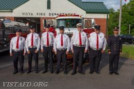 Engine 142 crew: FF Steven Woodstead, FF Patrick Healy, Probationary FF Peter Sloan, Foreman Dan Castelhano, Ex-Chief Jim Hackett, FF Ron Egloff & Lt. Phil Katz
