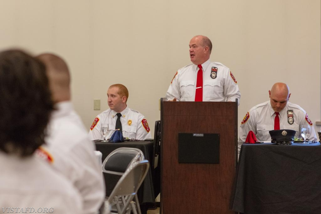 Firefighter Steven Woodstead at the 2018 Vista Fire Department Annual Inspection Dinner