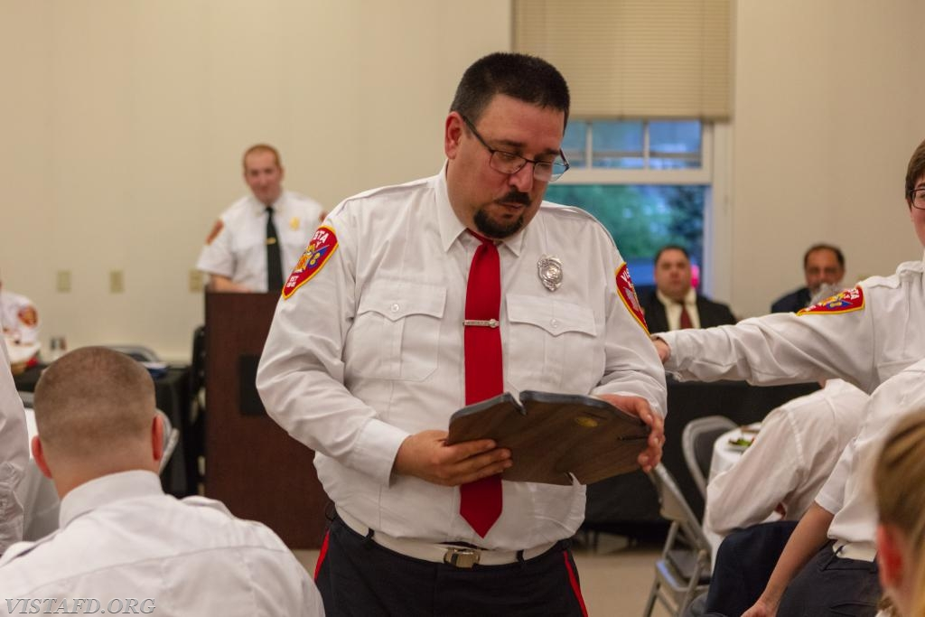 EMT Greg Pastrana receiving the 2017-2018 Vista Fire Department EMT of the Year award
