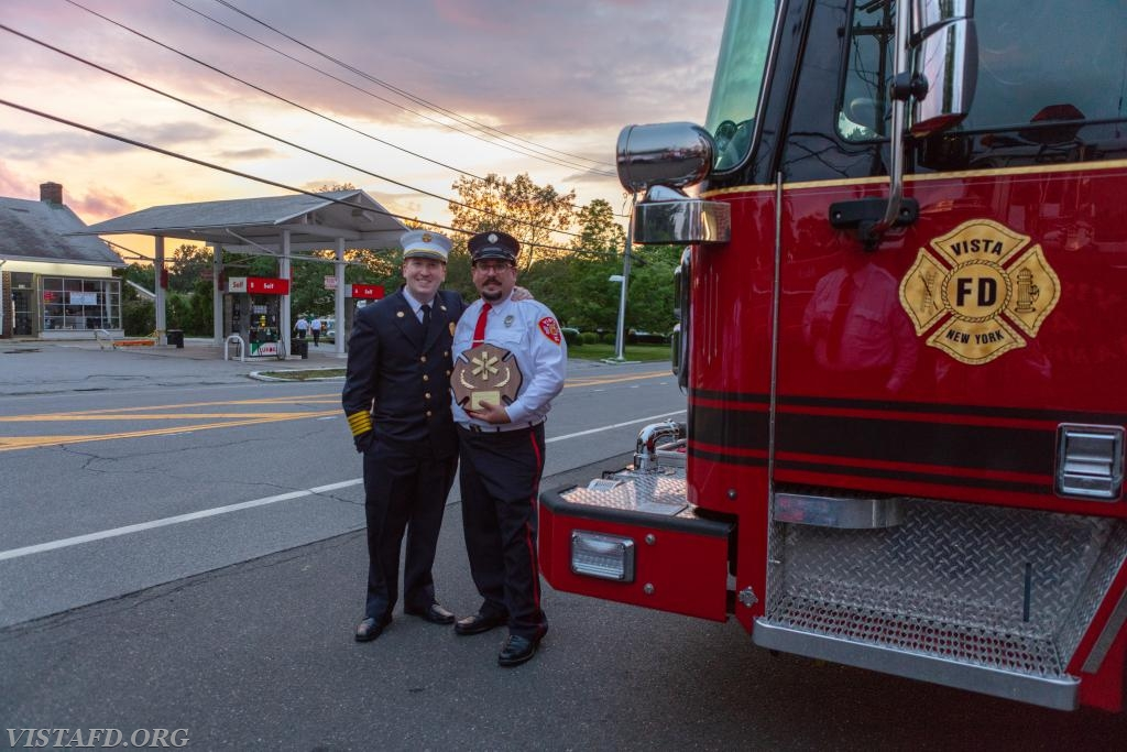 2017-2018 Vista Fire Department EMT of the Year: EMT Greg Pastrana with Chief Jeff Peck