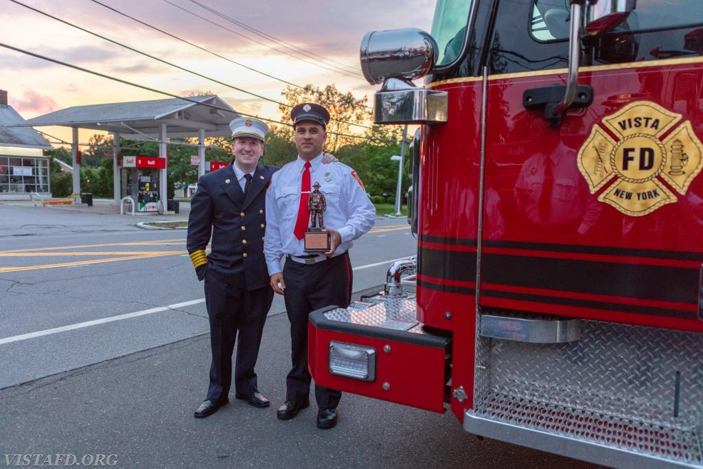 2017-2018 Vista Fire Department Rookie of the Year: Foreman Dan Castelhano with Chief Jeff Peck