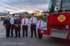 The Engine 141 crew with Chief Jeff Peck after winning the Best Fire Apparatus Trophy