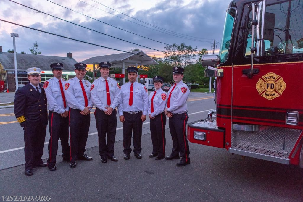 The 2017-2018 Vista Fire Department Foremen with Chief Jeff Peck: Foreman Adam Bartley, Lead Foreman Marc Baiocco, Foreman Will Pope, Foreman Dan Castelhano, Foreman Karen Lilly and Foreman Mike Canil