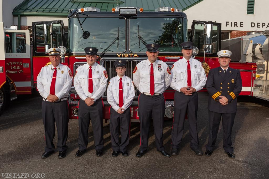 (L-to-R) Ex-Chief Bill Dingee, FF Sean Kelly, FF Ryan Ruggiero, Lead Foreman Marc Baiocco, Probationary FF Dan Gjodesen and Asst. Chief Mike Peck from Engine 141