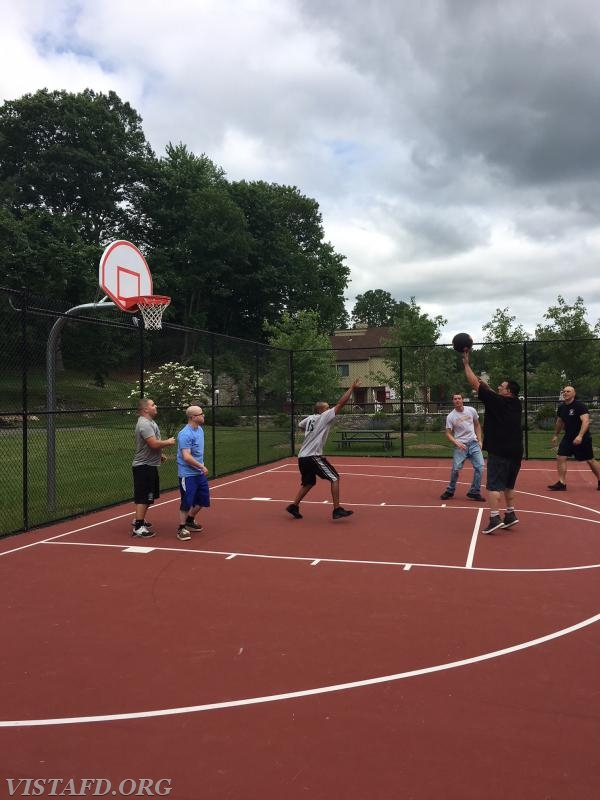 Vista Fire Department members playing in the 2018 Saturday Platoons 3-on-3 Basketball Tournament