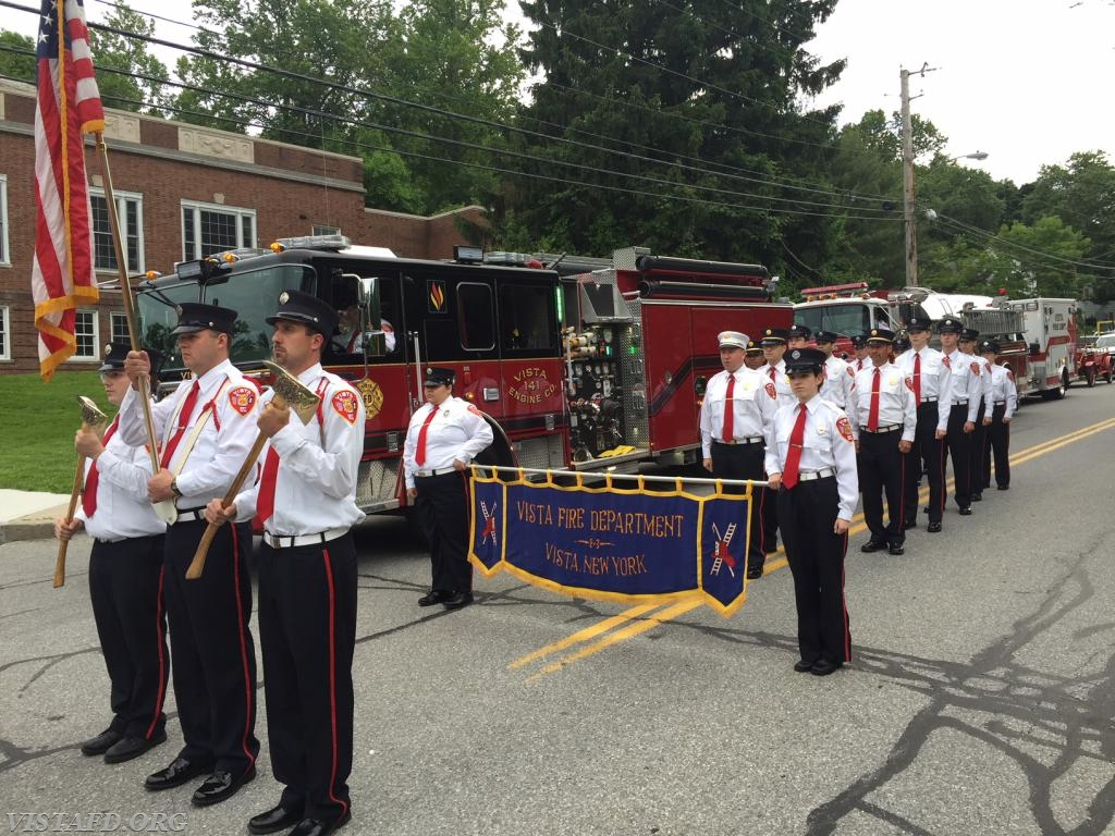 The Vista Fire Department lined up for the 2018 Katonah Parade