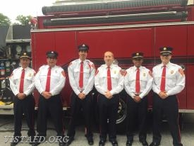 Lt. Phil Katz, EMT Greg Pastrana, Foreman Adam Bartley, Chief Jeff Peck, Lt. Wilmer Cervantes & Capt. Brian Porco before the Katonah Parade