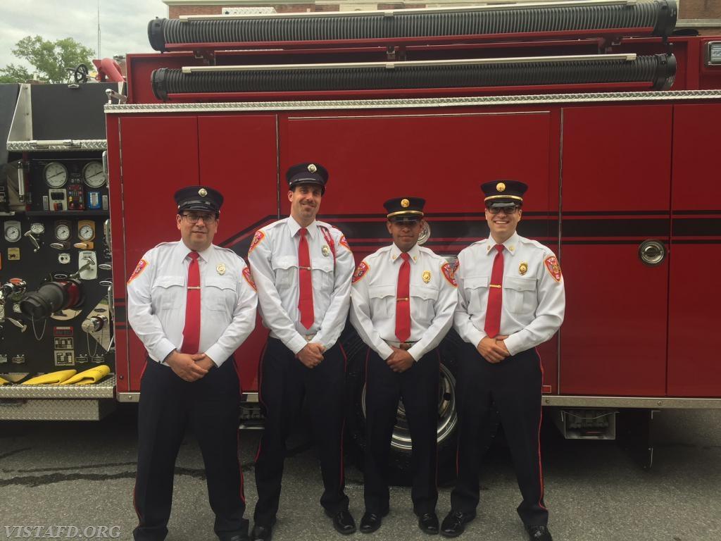 EMT Greg Pastrana, Foreman Adam Bartley, Lt. Wilmer Cervantes & Capt. Brian Porco before the Katonah Parade