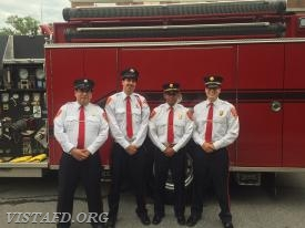 EMT Greg Pastrana, Foreman Adam Bartley, Lt. Wilmer Cervantes & Capt. Brian Porco before the Katonah Parade