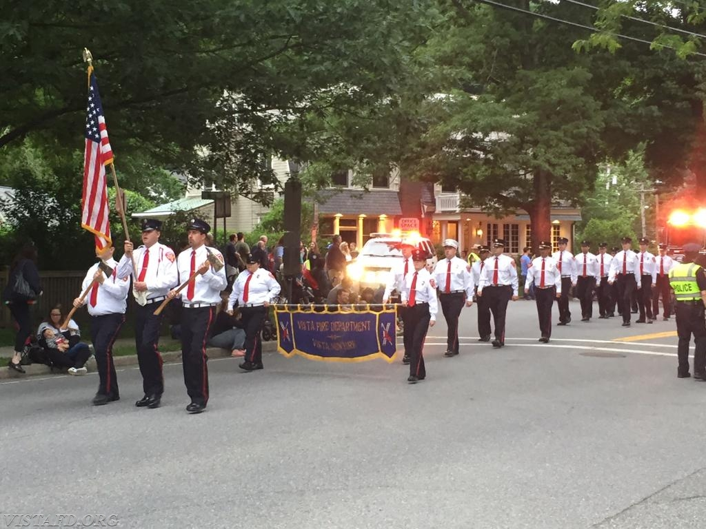 The Vista Fire Department marching in the 2018 Katonah Fire Department Parade