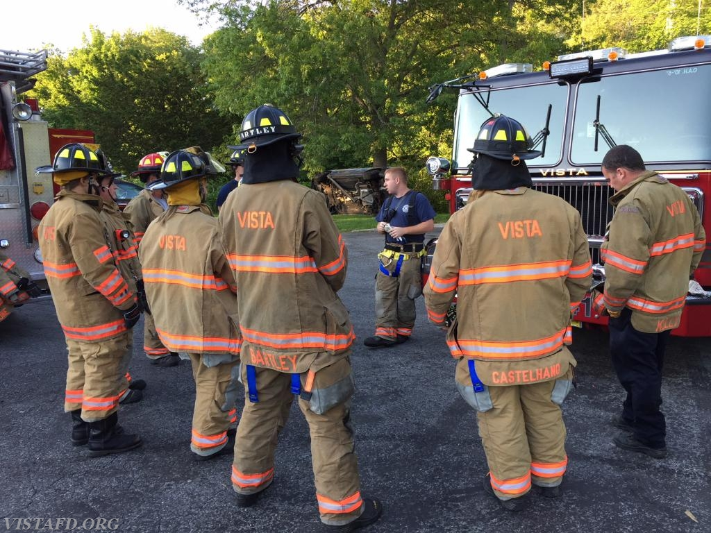 Asst. Chief Mike Peck and Firefighter Sean Kelly going over the vehicle stabilization drill