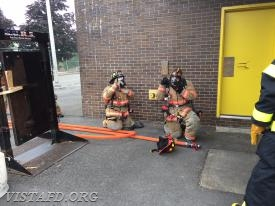 Vista Firefighters entering the Class A burn building at the Westchester County Fire Training Center