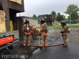 Vista Firefighters practicing structure fire operations at the Westchester County Fire Training Center