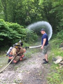 "Vista Firefighters practicing how to operate an 1-3/4"" hose line"
