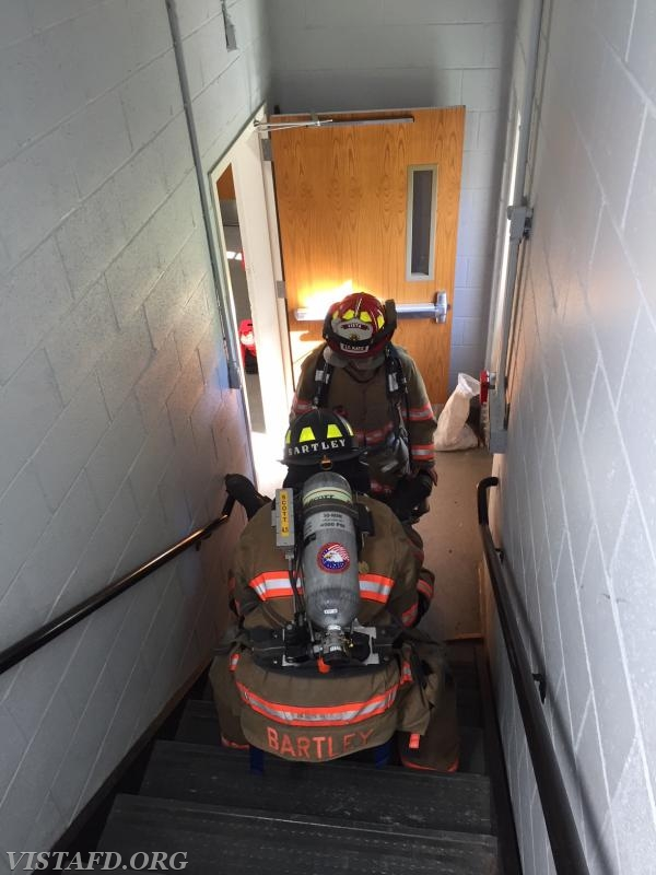 "Vista Firefighters practicing stair carry for a downed Firefighter during ""Advanced Firefighter Skills Training"" - 07/08/18"