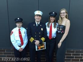 Firefighter Ryan Ruggiero, Chief Jeff Peck, Firefighter Olivia Buzzeo and EMT Candidate Isabel Fry