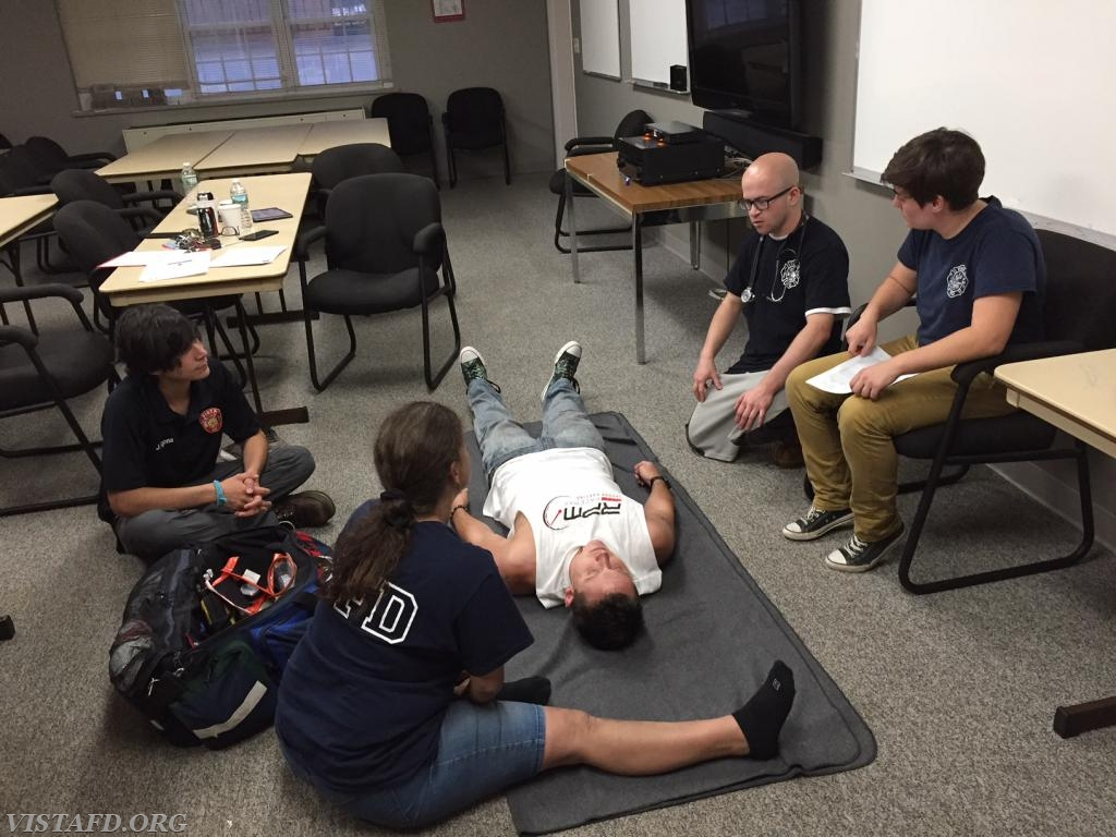 FF/EMT Candidate Ryan Ruggiero practicing how to conduct a medical practical