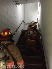 "Vista Firefighters conducting a search & rescue during ""Advanced Firefighter Skills Class"""