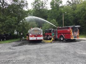 Foreman Adam Bartley practicing how to pump with Tanker 4 during Driver Training