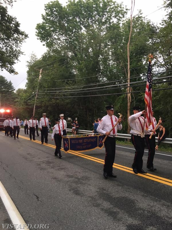 The Vista Fire Department marching in the 2018 South Salem Fire Department Parade