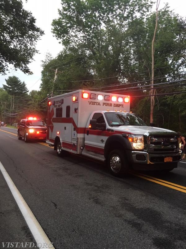 Ambulance 84B1 and the Vista Chief's car in the 2018 South Salem Fire Department Parade