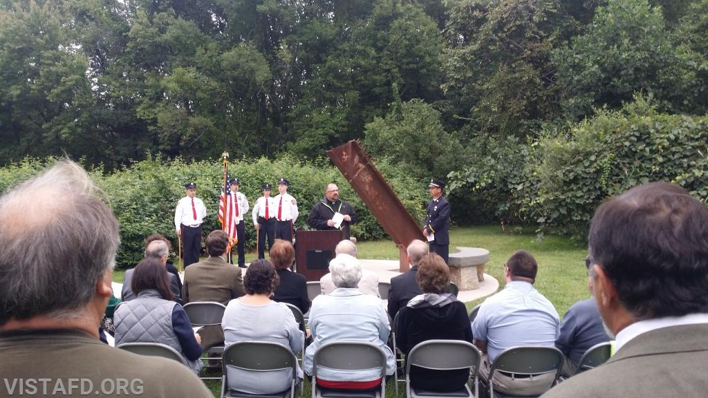 Vista FD Chaplain Michael Barry speaking at the 9/11 Memorial Service