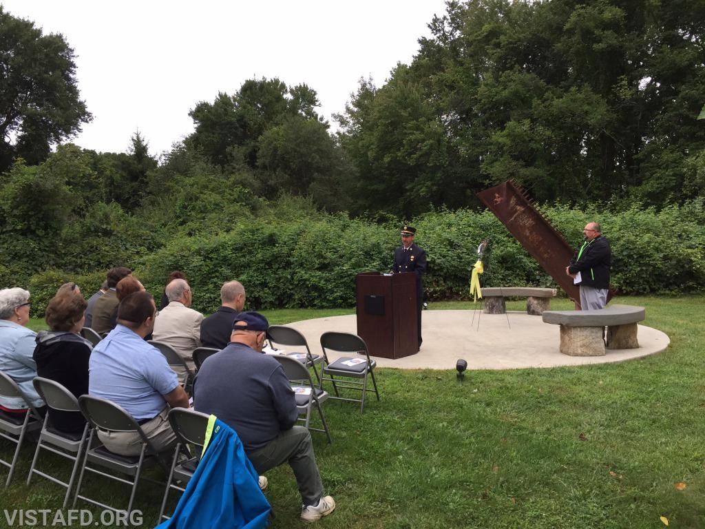 Vista FD Vice President Phil Katz speaking at the 9/11 Memorial Service