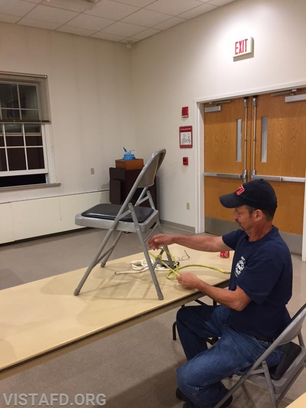 Lt. Phil Katz practicing ropes and knots techniques