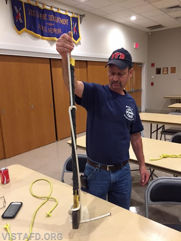 Lt. Phil Katz practicing ropes and knots techniques