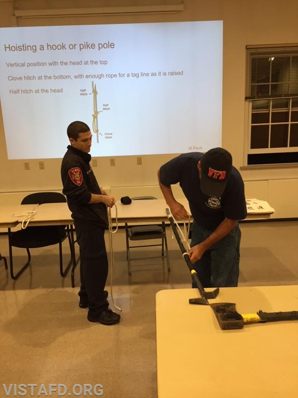 Lt. Phil Katz and FF Dom Mangone practicing ropes & knots techniques