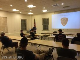 Lt. Phil Katz going over search & rescue with our Firefighters