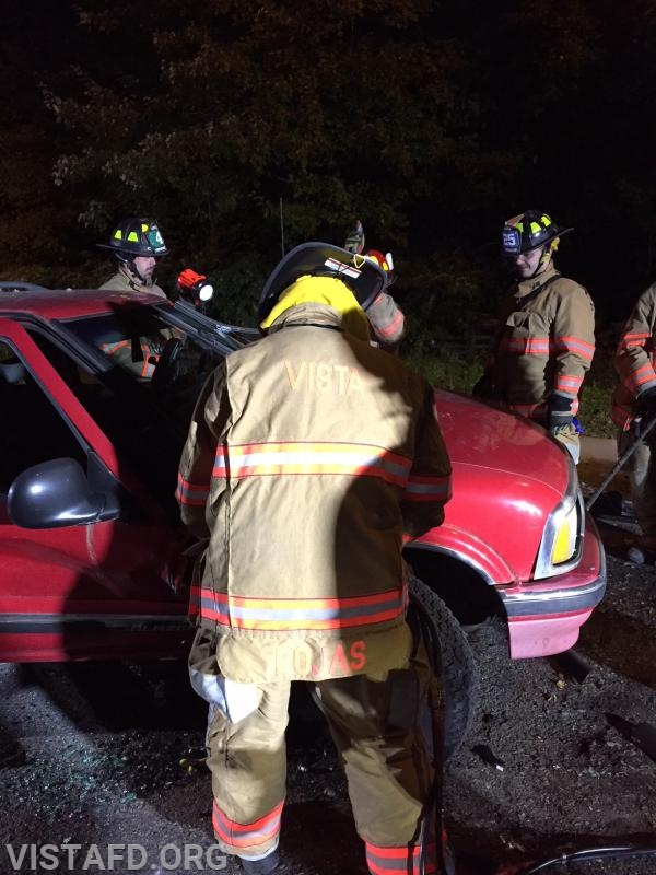 Vista Firefighters practicing how to use the extrication tools