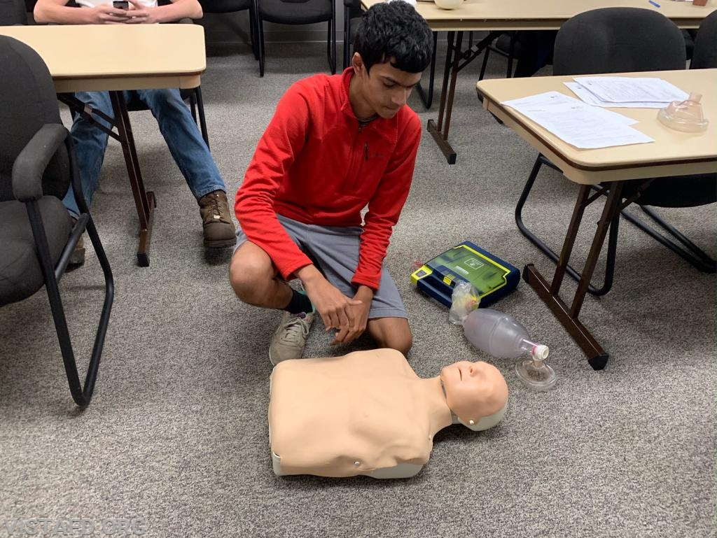 Probationary Firefighter Lance Phillips performing CPR during the AHA CPR Class