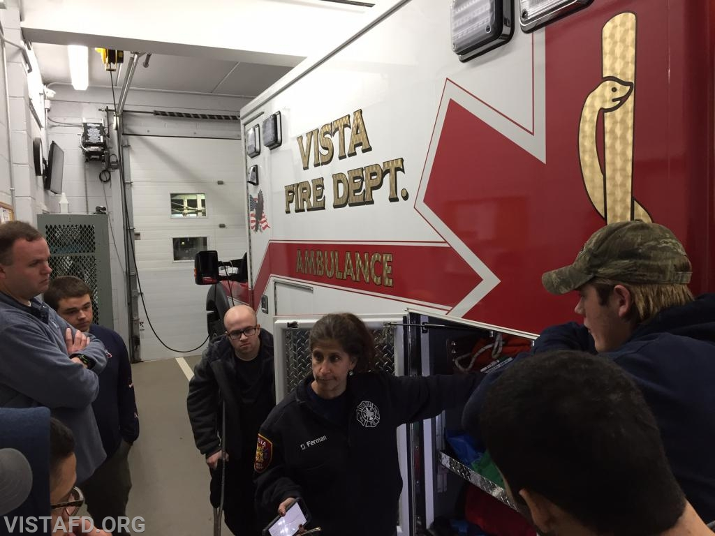 Capt. Debbie Ferman going over the equipment on Ambulance 84B1