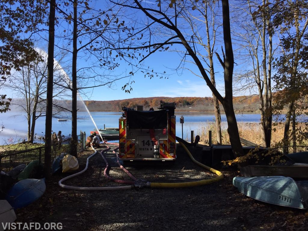 """Vista Engine 141 flowing water at the Lake Kitchawan dry hydrant during """"MPO & Firefighter Skills Class"""""""
