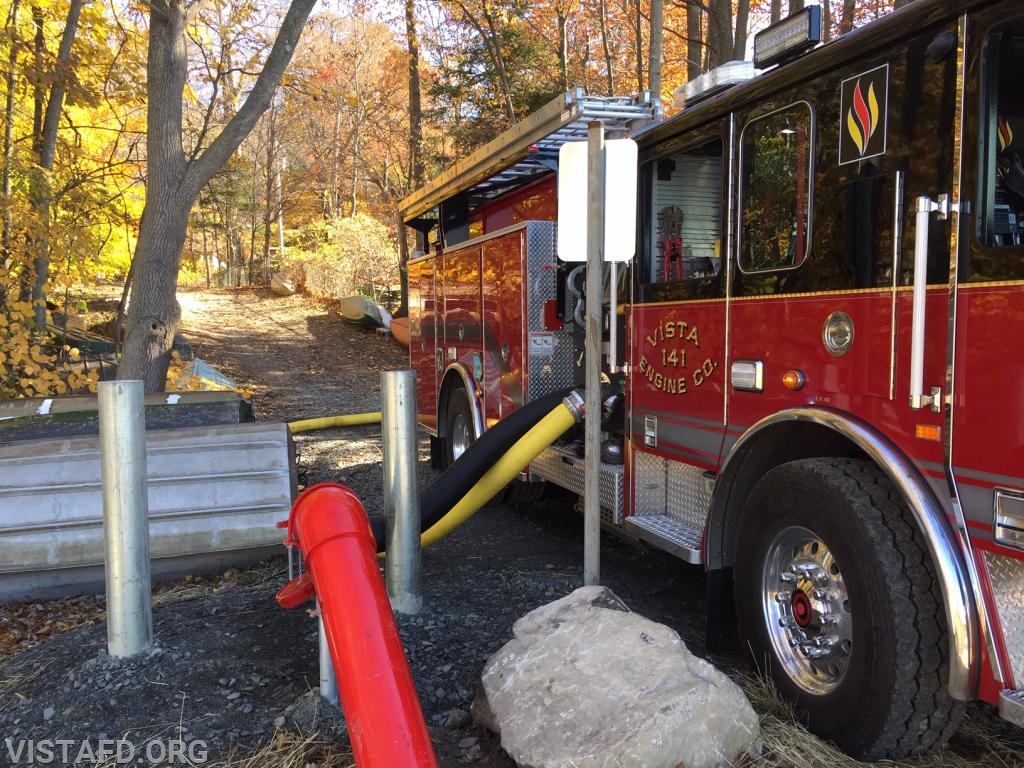 """Vista Engine 141 hooked up to the Lake Kitchawan dry hydrant during """"MPO & Firefighter Skills Class"""""""