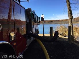 "Vista Engine 141 hooked up to the Lake Kitchawan dry hydrant during ""MPO & Firefighter Skills Class"""